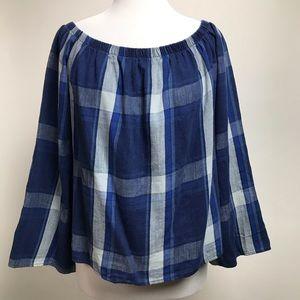 Cloth & Stone Top Plaid Print Off The Shoulder